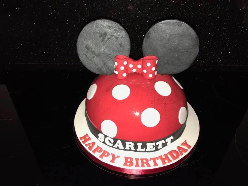 Red Domed Minnie Mouse Birthday Cake with Mirror Glaze Finish Cake