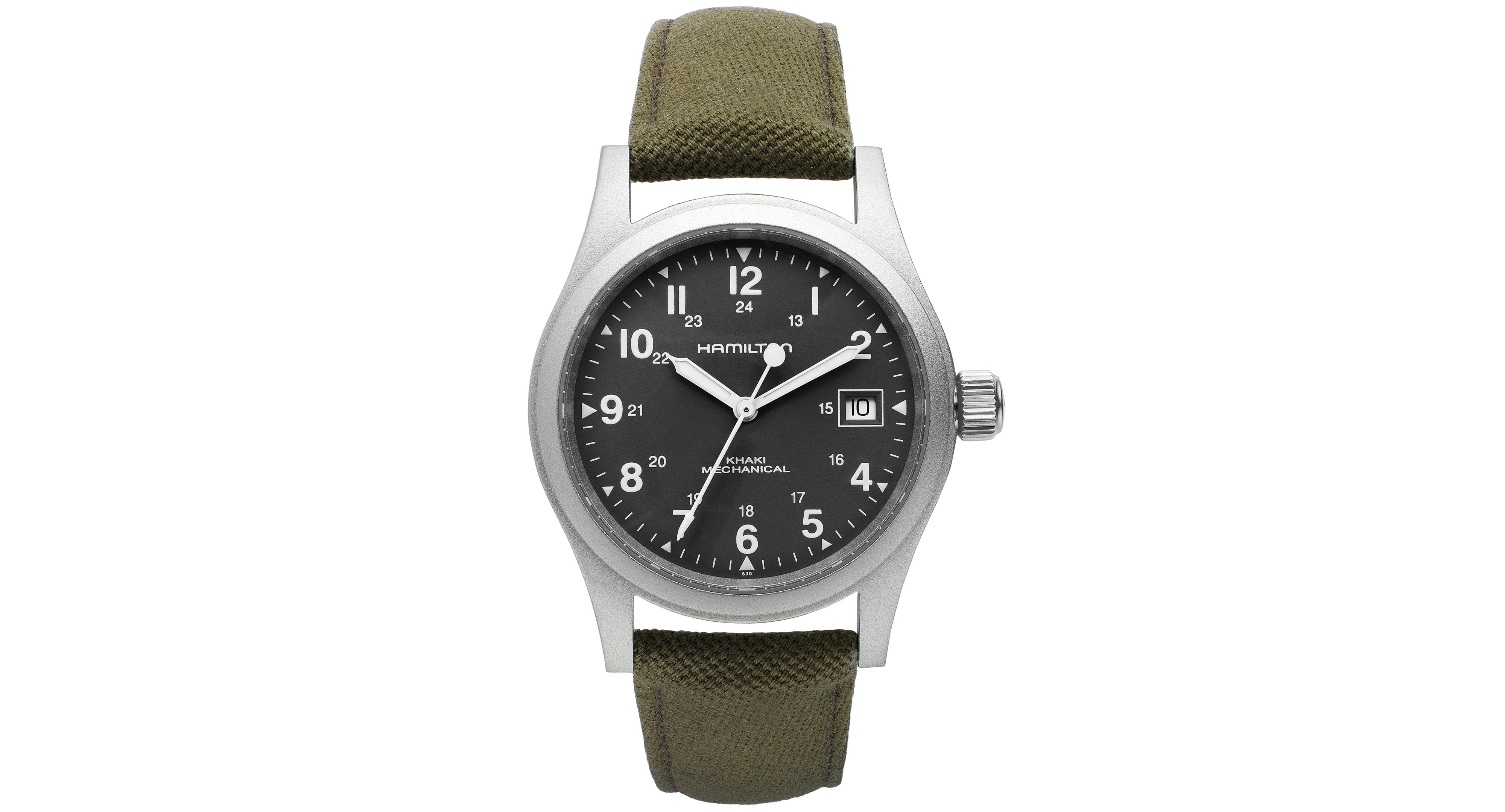 Hamilton Watch Men S Swiss Mechanical Officer Green Canvas