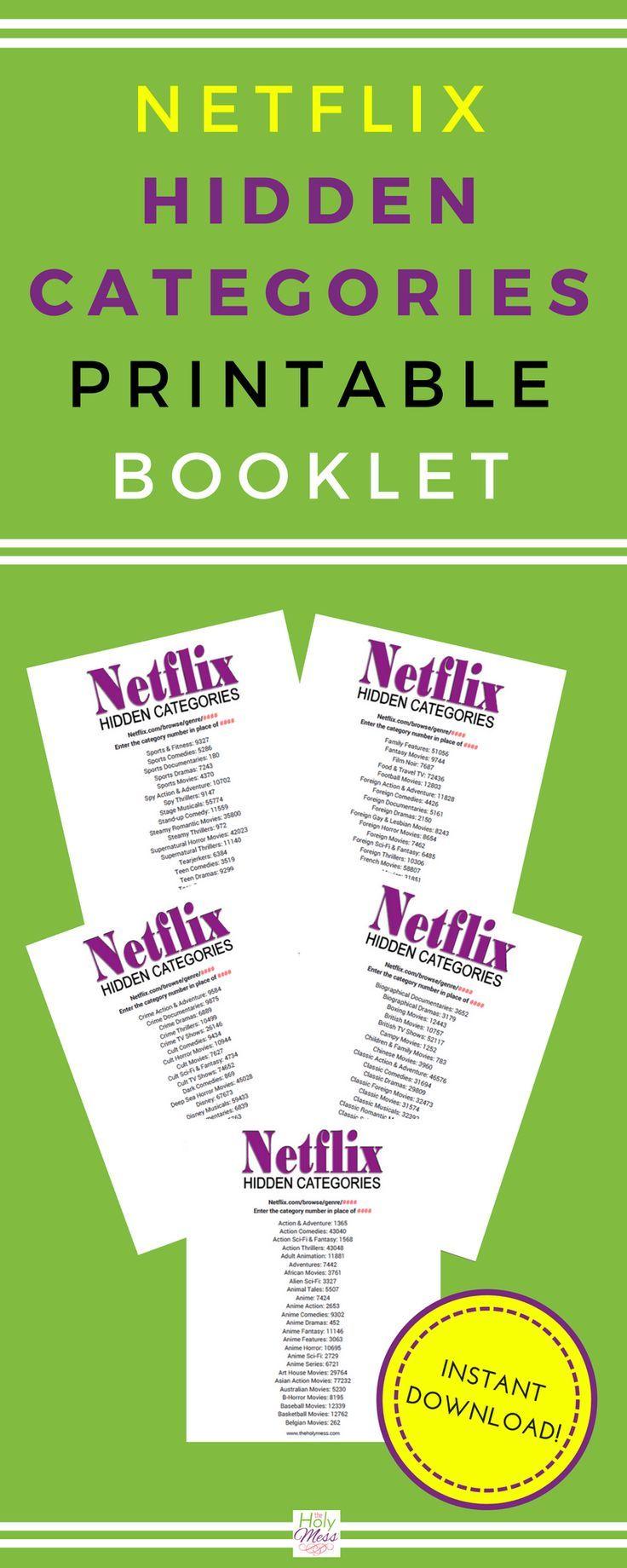 Netflix hidden categories printable booklet printables pinterest