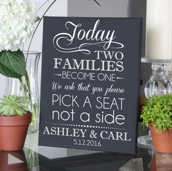Pick a Seat Not a Side Personalized Black Canvas Wedding Sign