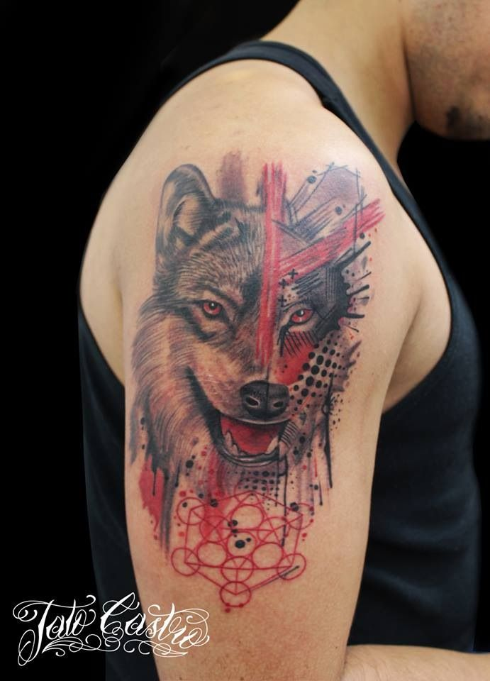 wolf trash polka style + icosaedro   tattoos   pinterest   trash