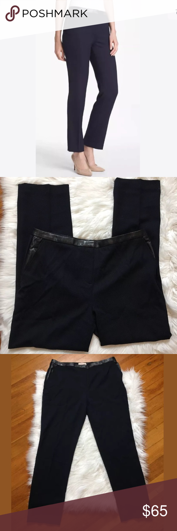2e23e942b0b Tory Burch Christy wool leather trim ankle pants Pre owned Tory Burch  Christy wool blend ankle