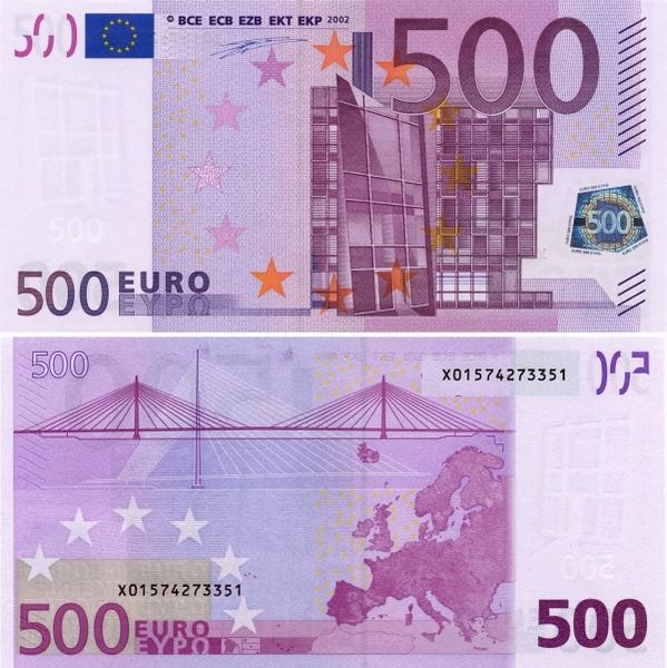 the most expensive and last euro note the 500 euro has drawings of arches doorways architecture and bridges in modern architecture around the late 20th