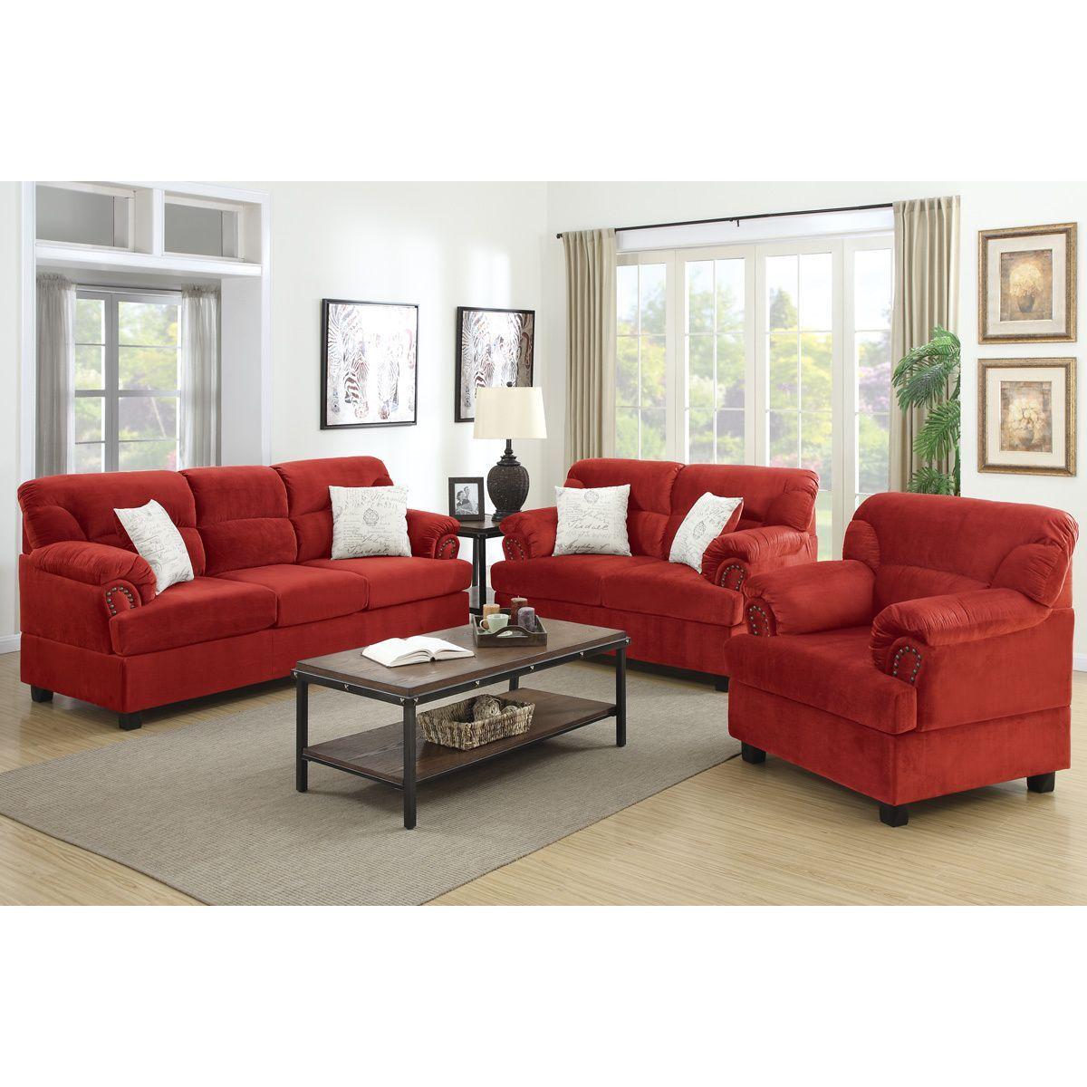 Best Poundex Junik 3 Piece Living Room Set In Microfiber Red 640 x 480