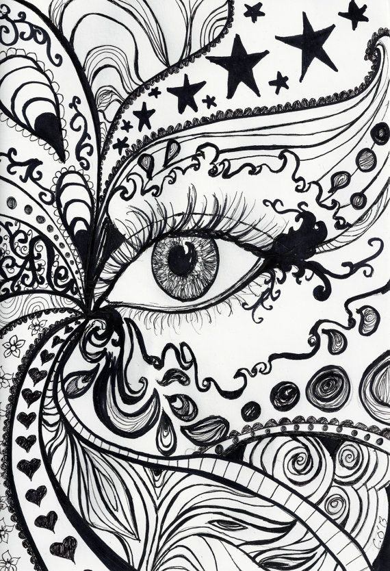 A4 print of original pen and ink drawing abstract eye design perfect for a