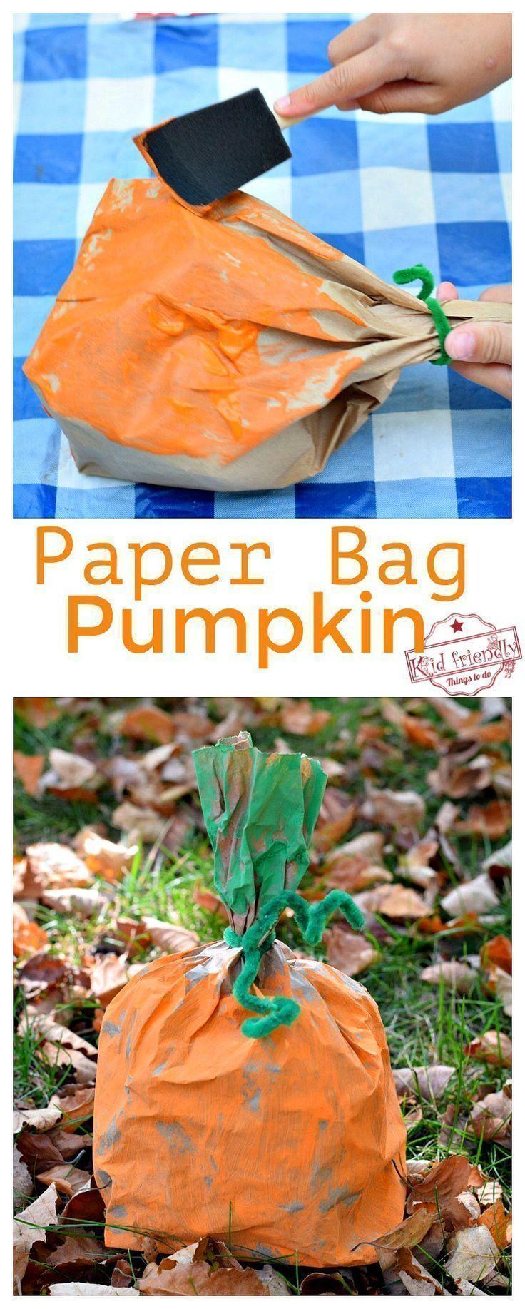 Easy and Fun Paper Bag Pumpkin Craft for Kids to Make #fallcraftsfortoddlers