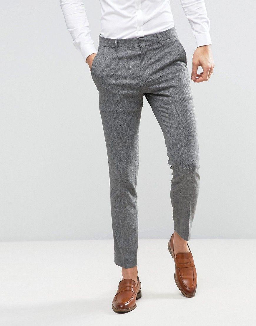 c85d6229d19e ASOS WEDDING Skinny Suit Pant In Gray Micro Texture - Gray | Mens ...