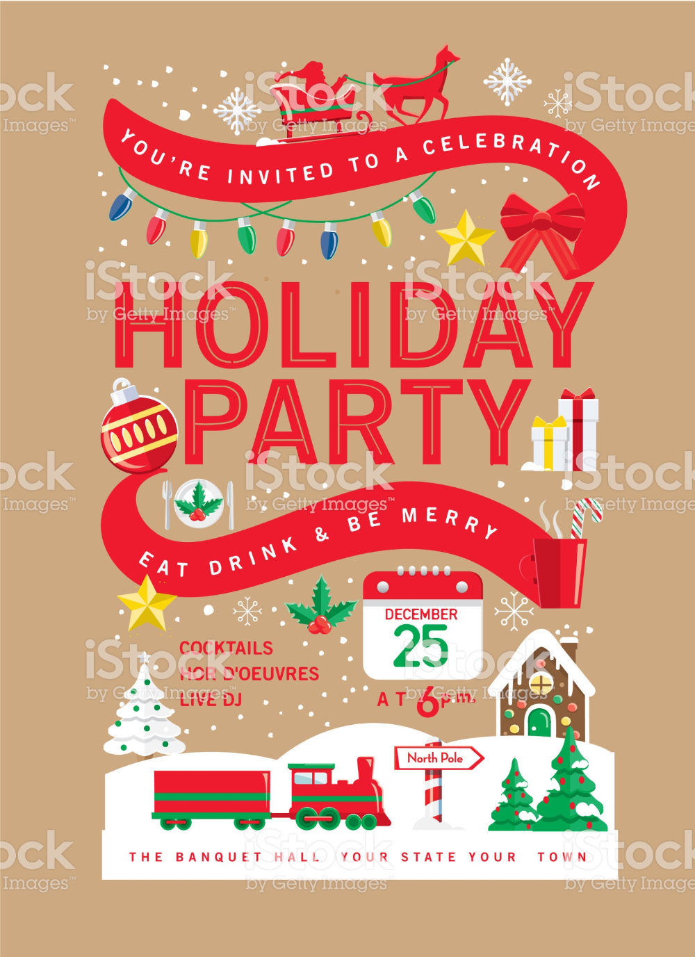 Vector Illustration Of A Colorful Holiday Christmas Party Invitation Party Invite Design Invitation Design Template Christmas Party Invitations