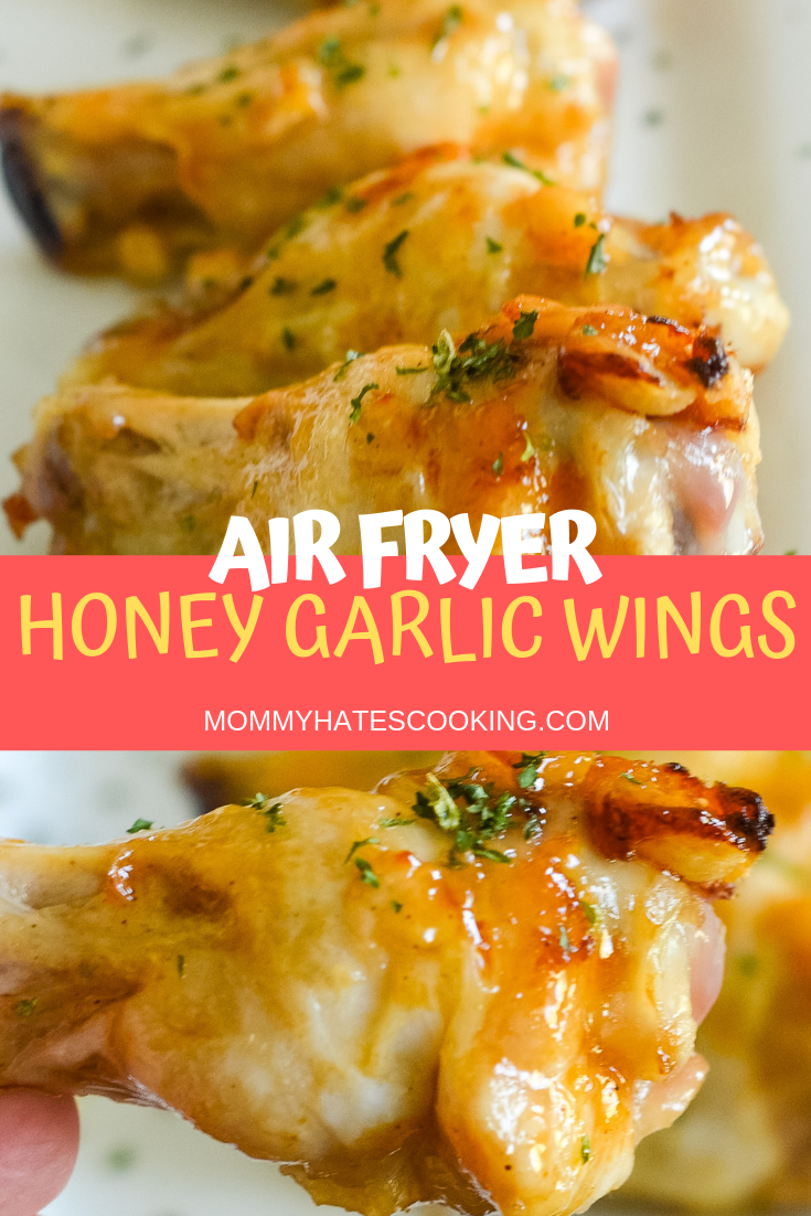 Air Fryer Honey Garlic Chicken Wings are the perfect go-to party food and great air fryer recipe! #AirFryer #AirFryerRecipes #GlutenFree #airfryerchickenwings
