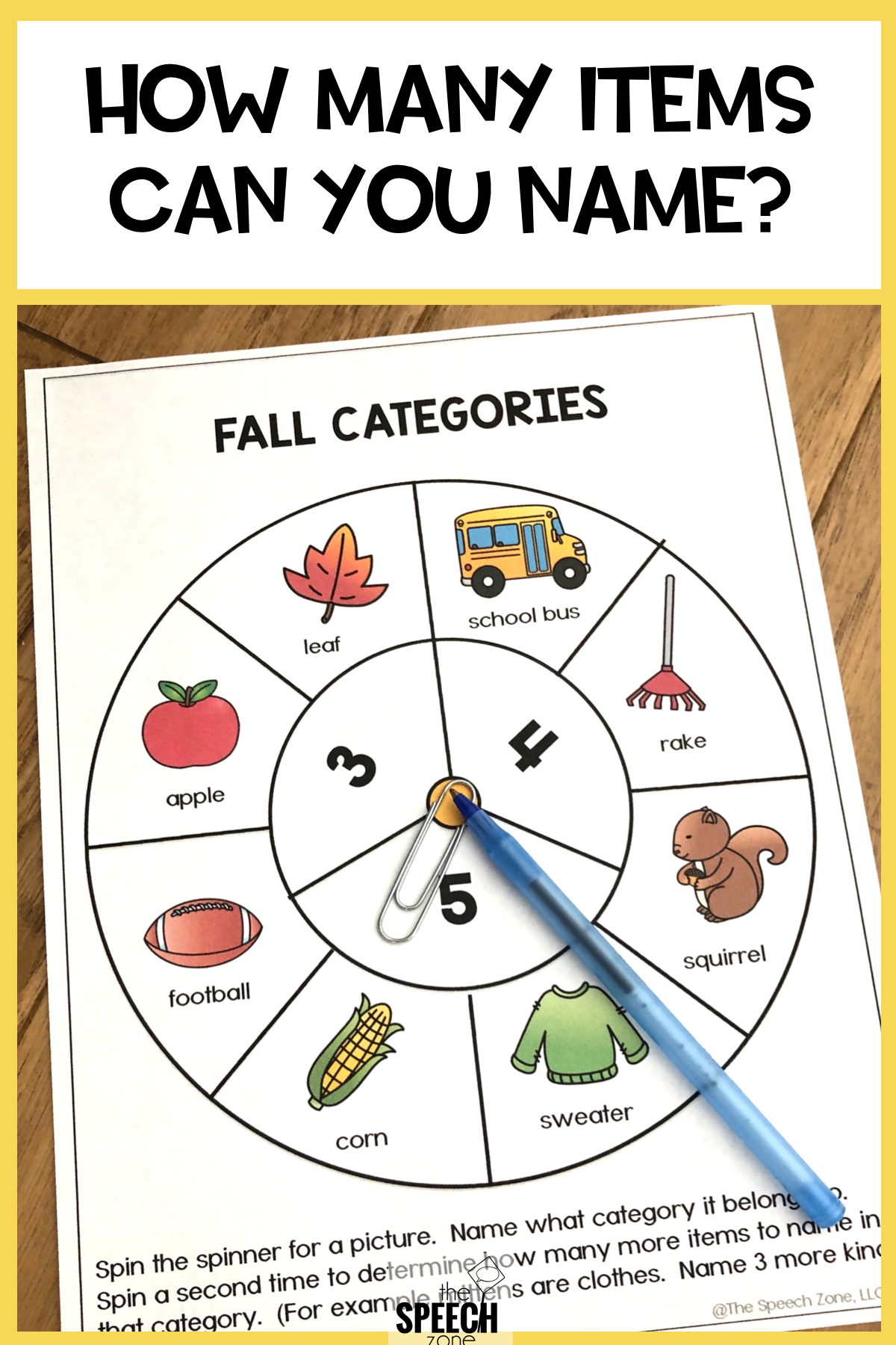 Free Spinner Fall Vocabulary Worksheets