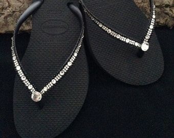 d23b4f707968 Havaianas Slim Flip Flops w  Swarovski Bling Crystal Full Moon Rhinestone  Bling sandal Bridal Wedding Custom Glass Slippers Beach Thong Shoe