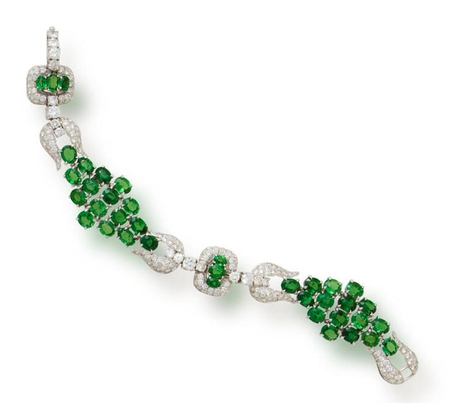 A tsavorite garnet and diamond bracelet.