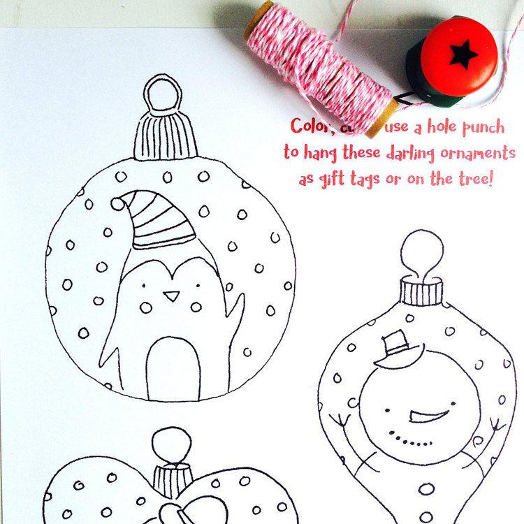 Printable Christmas Ornament Gift Tags Color By Ladylucasstore Printable Christmas Ornaments Gift Tags Christmas Ornaments Gifts