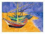 Fishing Boats on the Beach at Saintes-Maries-De-La-Mer Impressão giclée por Vincent van Gogh