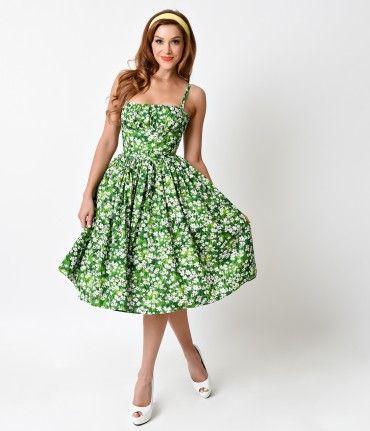 Bernie Dexter 1950s Style Daisy Meadow Paris Cotton Swing Dress