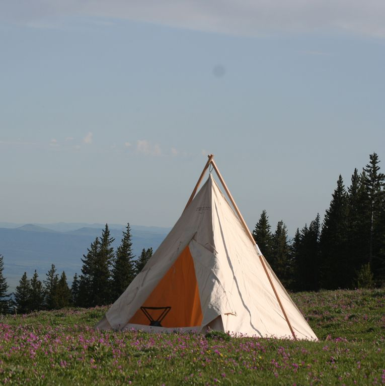 Tent awning & This is a range tent or cowboy range tee pee shot in the Big Horn ...