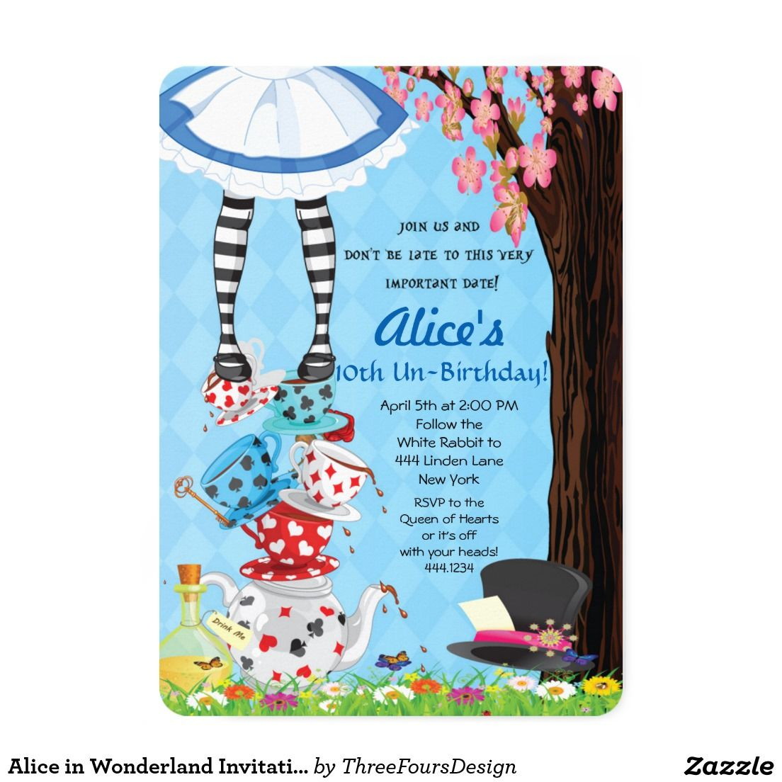 Alice in Wonderland Invitations | Alice, Wonderland party and Mad ...