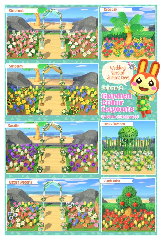 Volume 8 Garden Color Layouts Xl Wedding Edition Animalcrossing In 2020 Animal Crossing Animal Crossing Game New Animal Crossing