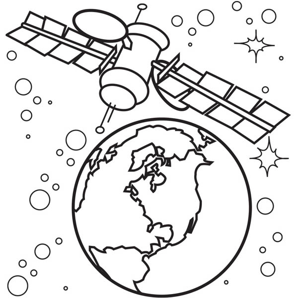 Satellite Of Spaceship Coloring Page Netart In 2020 Coloring Pages Space Illustration Quiet Book Templates