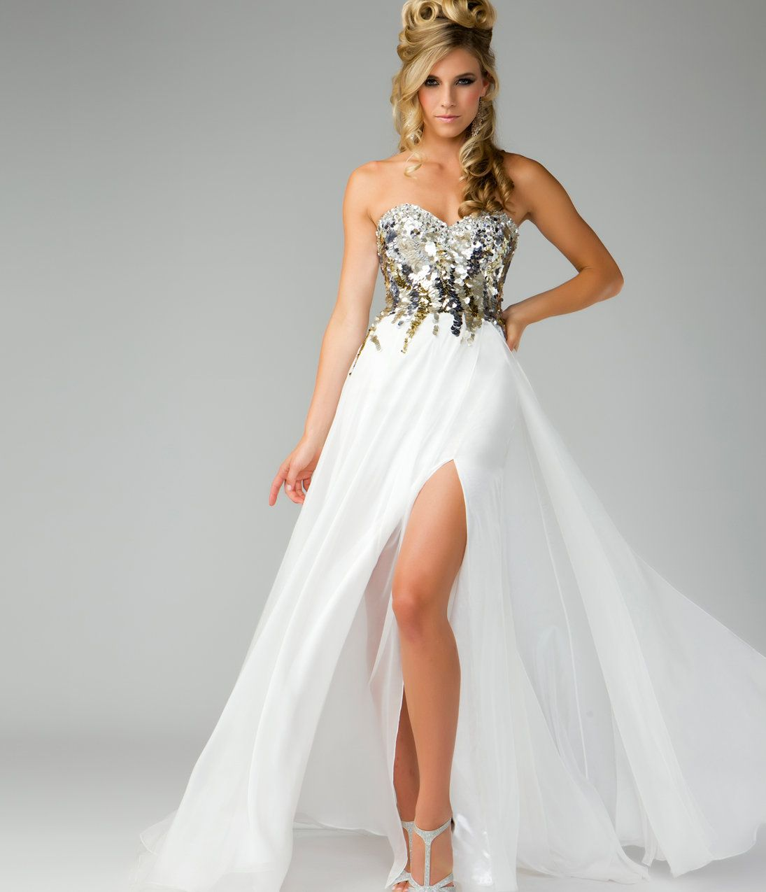 Mac Duggal Prom 2013- Gold Top Ivory Dress - Unique Vintage ...