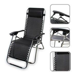 Chaise longue de jardin inclinable, transat métal et toile textilène ...