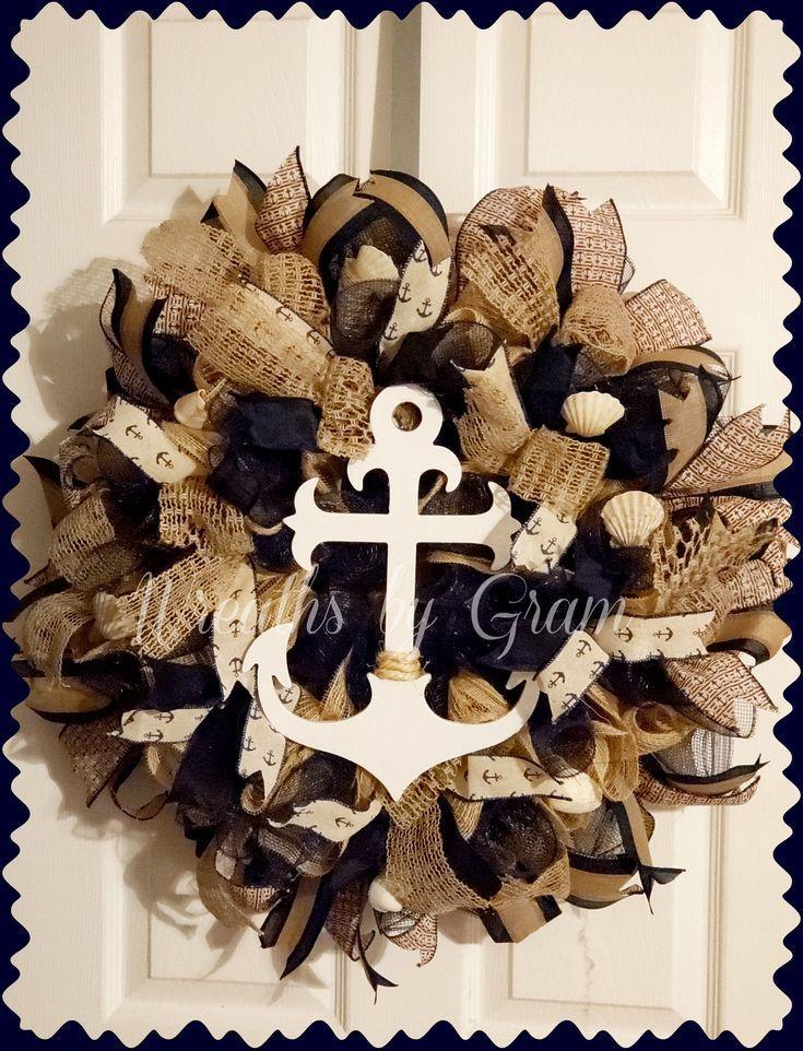 Beach house wall decor coastal wreath handmade anchor
