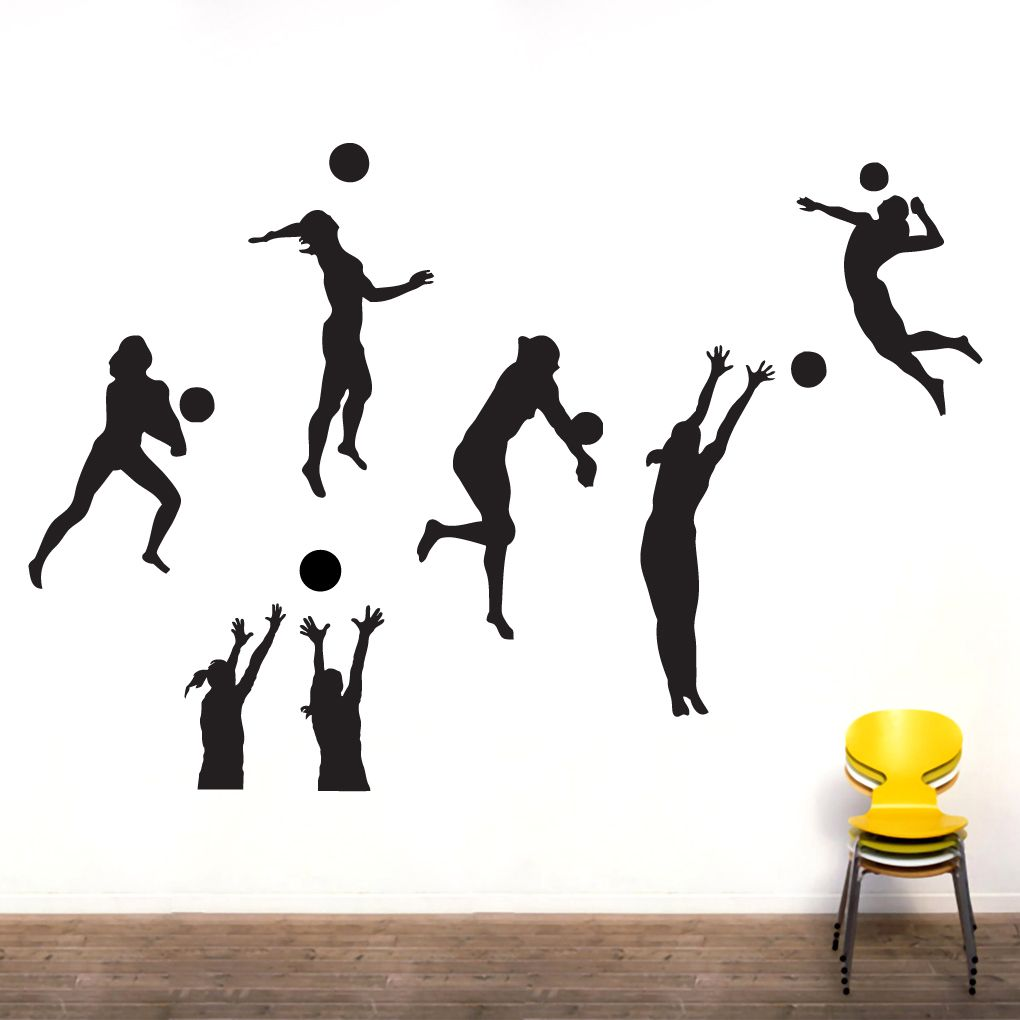 Volleyball Players Wall Decal Set Sports Wall Decals Sports Wall Volleyball Players