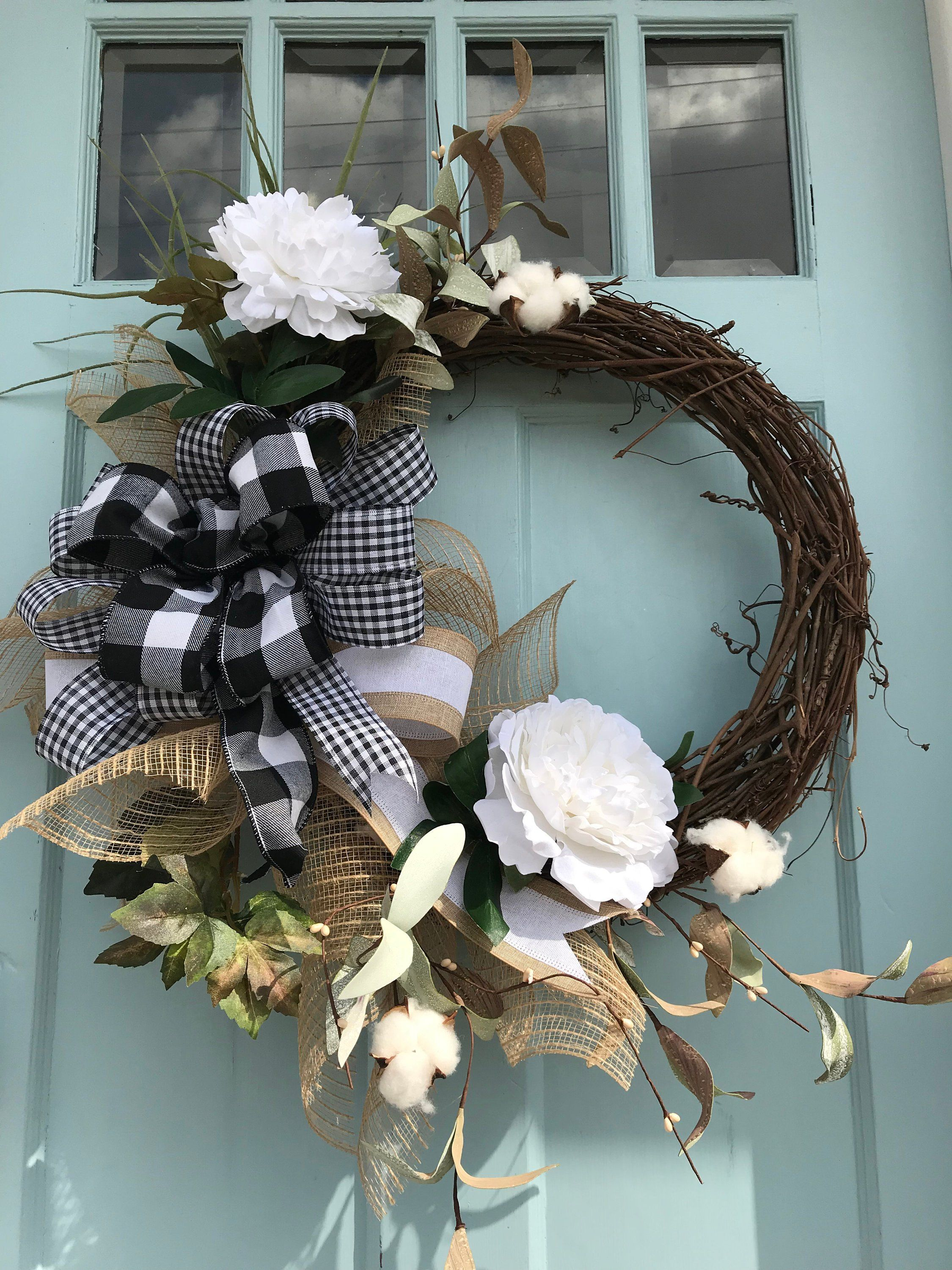Beautifully Elegant White Floral Grapevine Wreath For Door Wreaths Wreaths For Front Door Farmhouse C Wreath Decor Grapevine Wreath Wreaths For Front Door