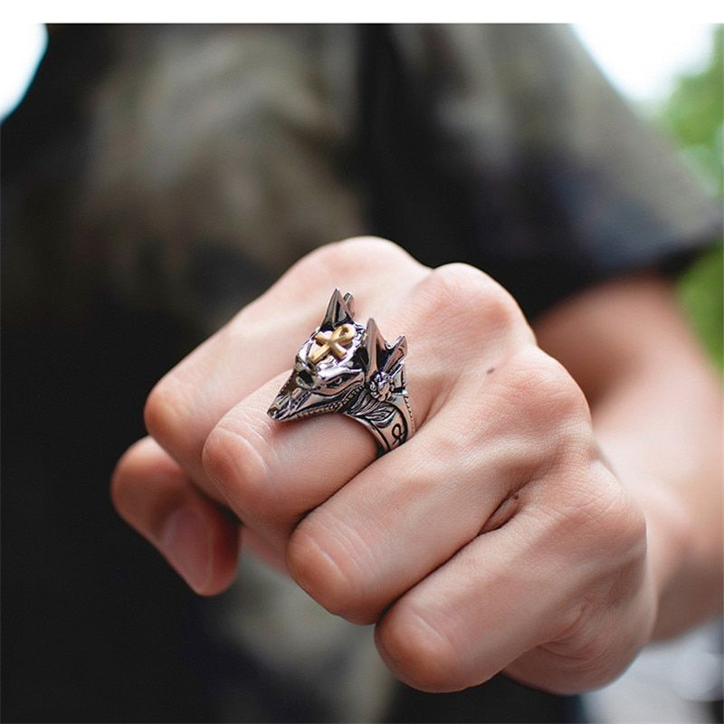 Anubis God of The Death Ring Ancient Egypt Jackal Jewelry Rings for Men