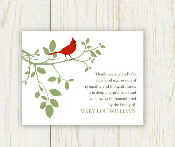 Red Bird Funeral Thank You Card - Digital file - sympathy thank ...