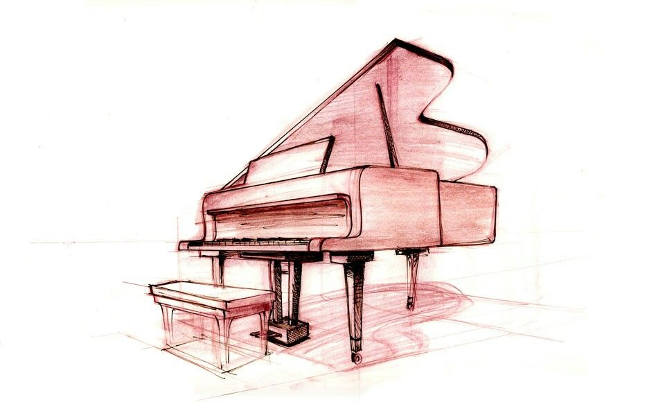 Grand piano sketch music drawings perspective sketch
