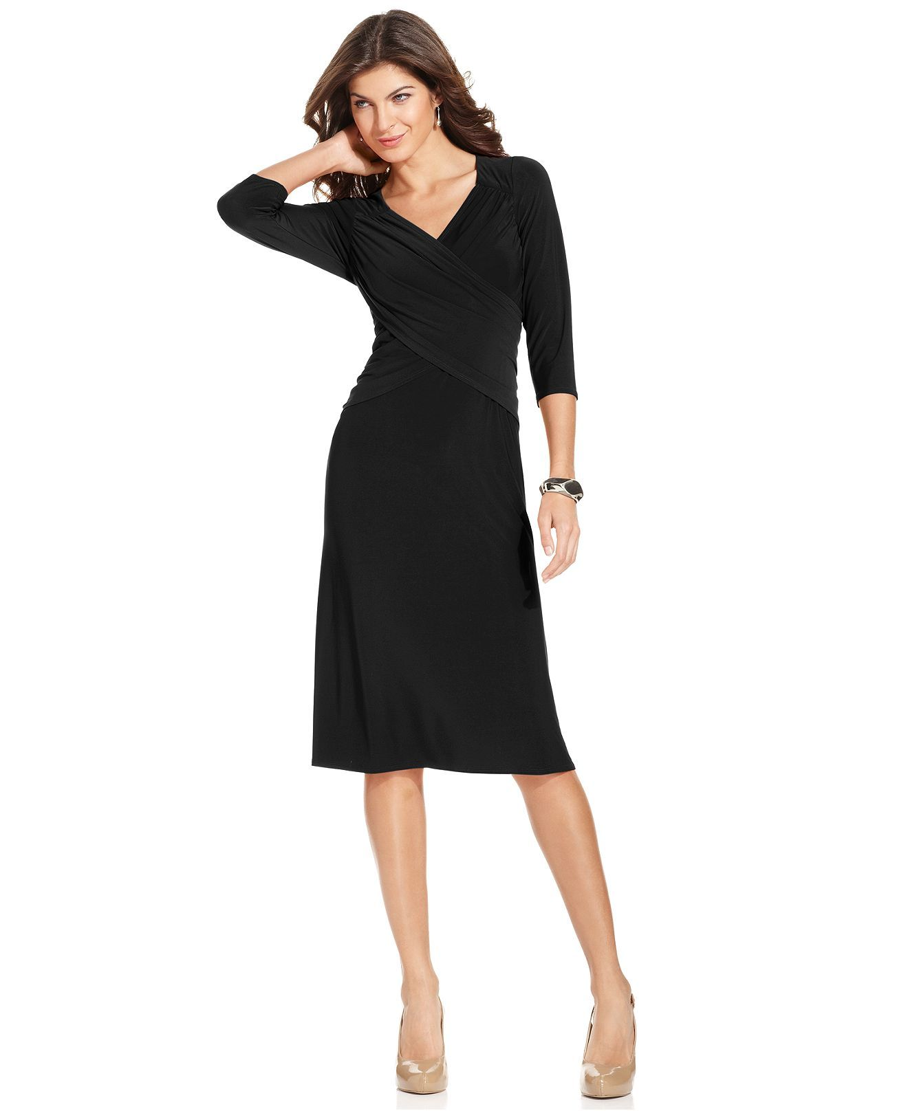 Black dress quarter sleeve - Ny Collection B Slim Three Quarter Sleeve Dress