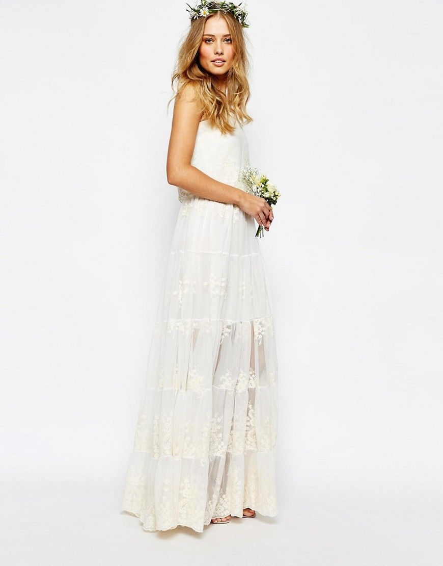 Body Frock – Trägerloses Spitzen-Brautkleid mit Sonnenblumenmuster ...
