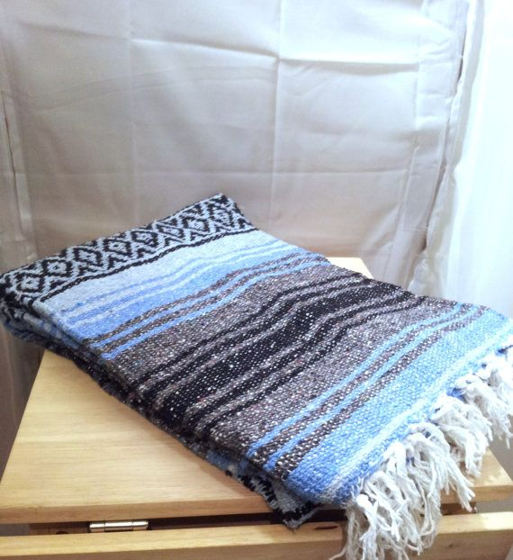 Vintage Southwestern Blanket Teal Blue Woven Wool Rug Saddle Throw Pastel Navajo Aztec Tribal Mexican