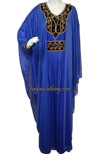 779345d2c90f Royal Blue Fancy Dubai Chiffon kaftan with Golden Rhinestones ...