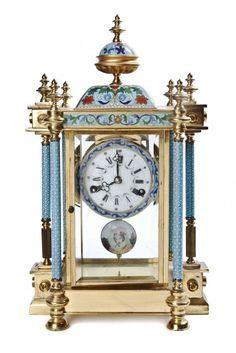 Rare French Enameled Gothic Clock