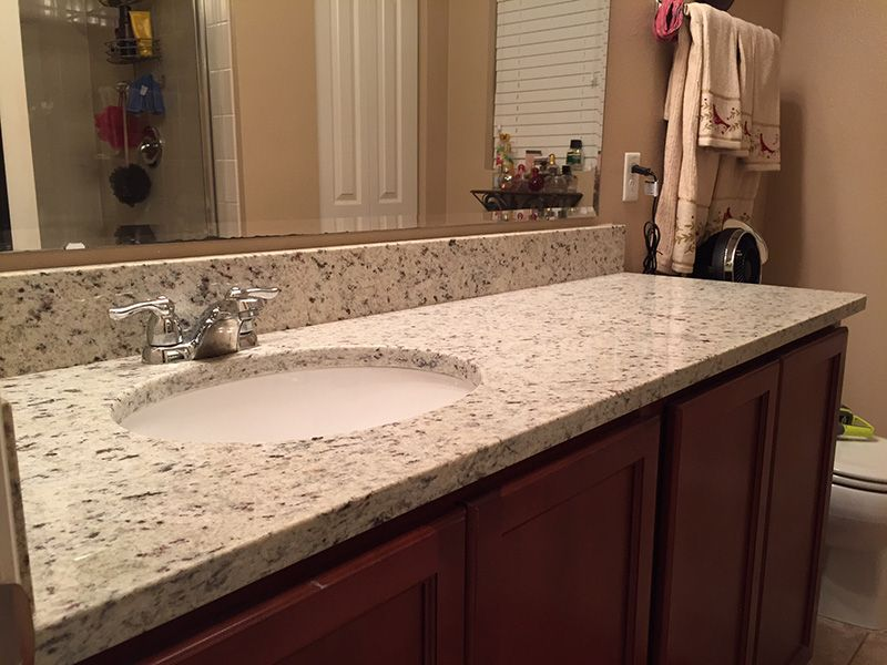Branco Dallas Granite Countertops In Bathroom