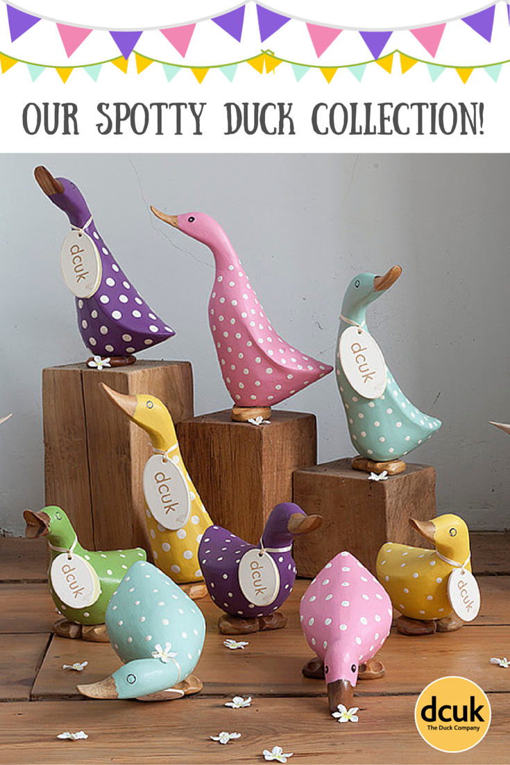 Our spotty duck collection includes polka dot ducklings and duckys guaranteed to make you smile! From £14.95 - £16.95 plus postage and packing. See them all on our website! http://www.theduckcompany.co.uk/ducks/special-ducks/spotty-ducklings-sub2 The Duck Company DCUK
