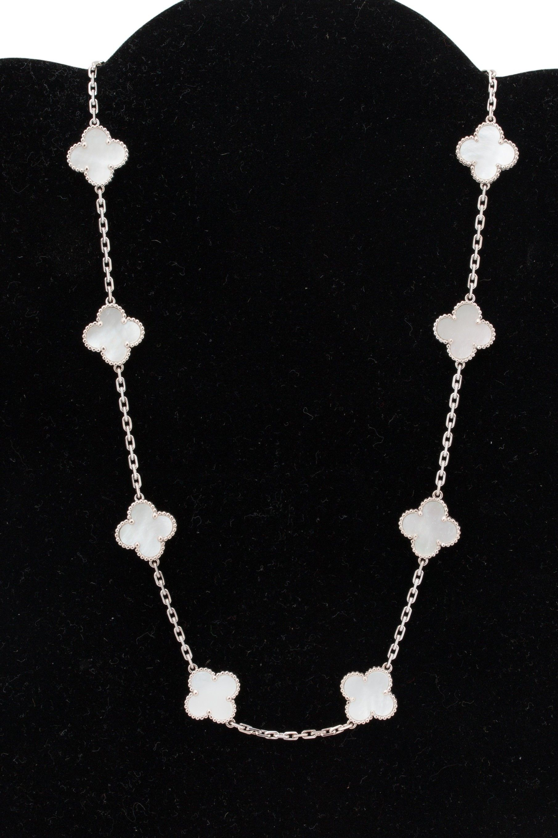 Van Cleef & Arpels Vintage Alhambra 18k White Gold And Mother Of Pearl  Necklace, 10