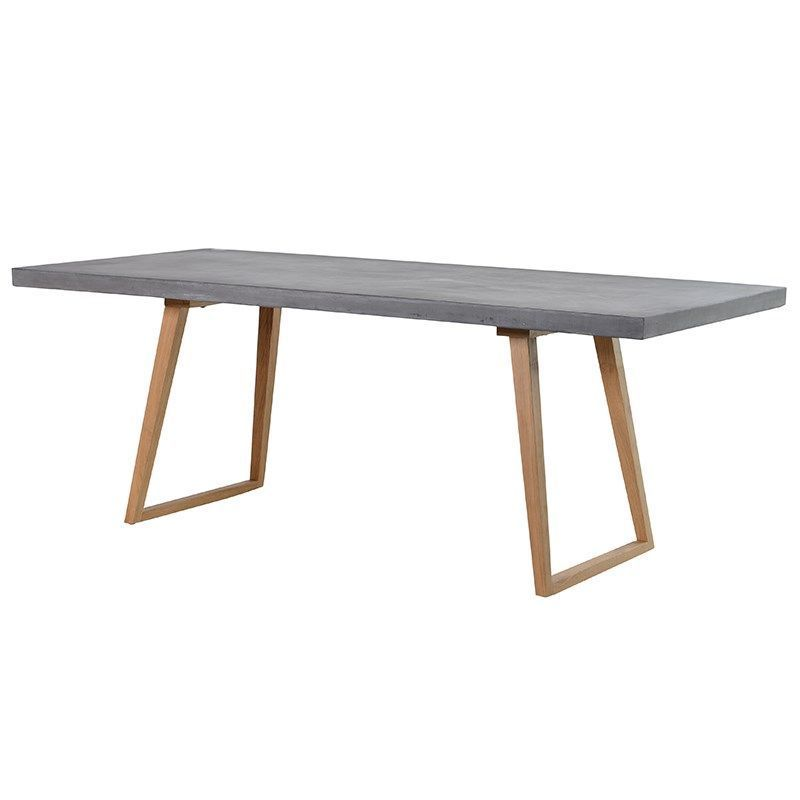 Urban Chic Large Concrete Top Rectangular Dining Table Oak Frame