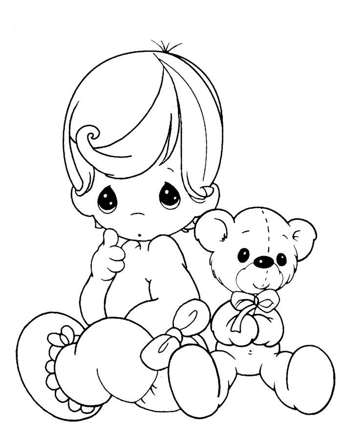 Precious Moments Baby And Teddy Bear Coloring Pages Inkleur