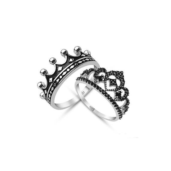 His And Hers Crown Rings Black