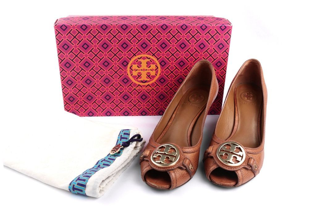 a4e8419414fba2 Tory Burch Women s Tan Leticia Sally 2 Peep Toe Wedge Pumps Shoes Size 7   ToryBurch  PlatformsWedges  Casual