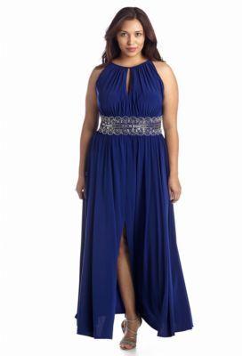 c52e4e3700b41 RM Richards Royal Plus Size Beaded Waist Halter Gown