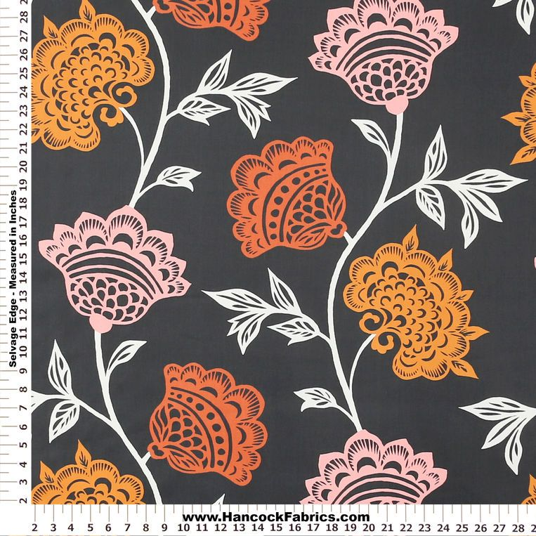 Great Orange Garden Court Home Decor Fabric   Mediumweight Multi Purpose Fabric  Prints