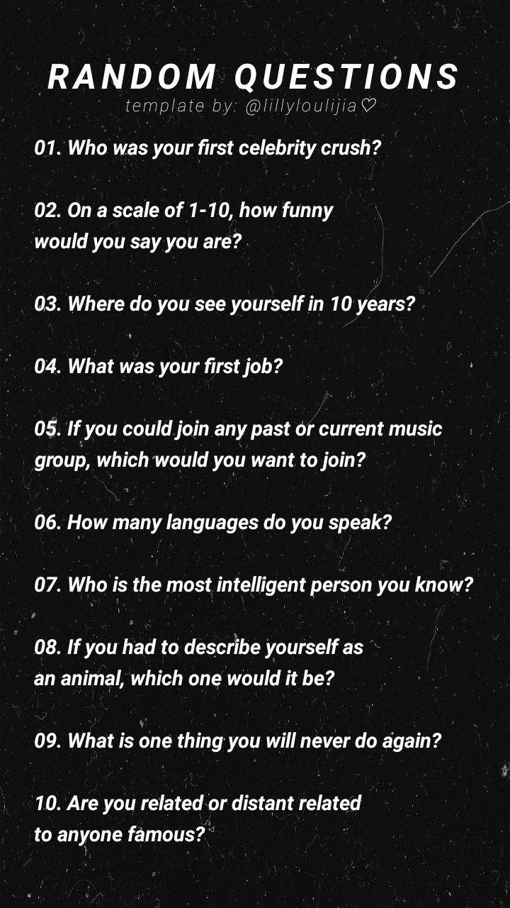 Photo of ig template: random questions