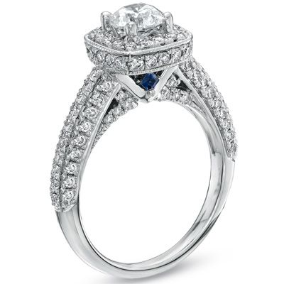 Vera Wang Love Collection 3 4 Ct T W Diamond Frame Engagement Ring In 14k White Gold Zales Engagement Rings 14k White Gold Engagement Rings Amazing Jewelry