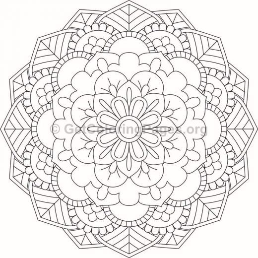 Flower Abstract Coloring Pages : Flower mandala coloring pages #320 u2013 getcoloringpages.org