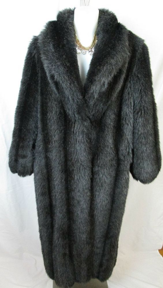 Monterey Fashions Women s Black Faux Mink Fur Coat Size Large     Monterey Fashions Women s Black Faux Mink Fur Coat Size Large   MontereyFashions  BasicCoat