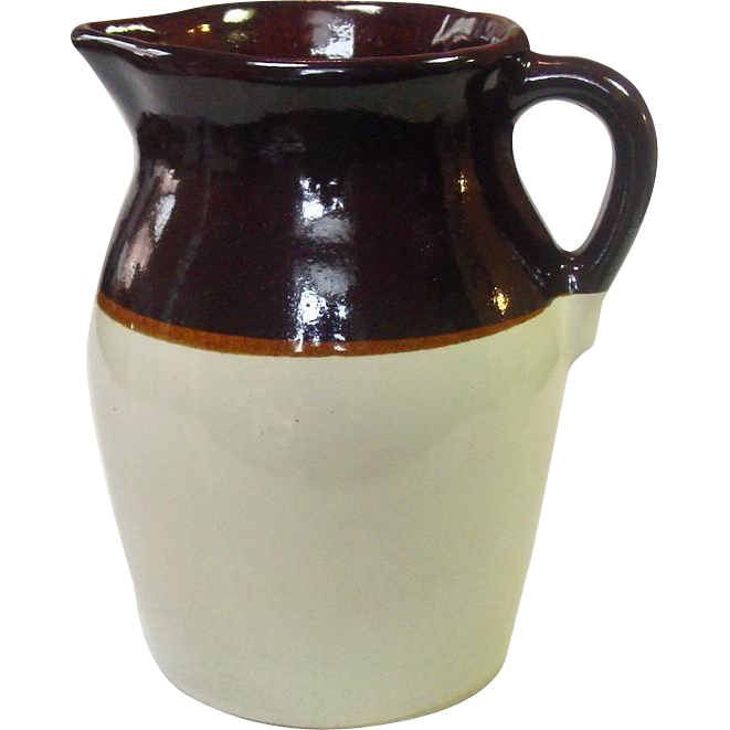 Vintage Brown And Tan Stoneware Pitcher, 1/2 Gallon